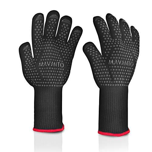 MAVANTO® Grillhandschuhe EXTRA LANG hitzebeständig bis zu 500 Grad - perfekt auch am Ofen - Profi BBQ Handschuhe mit Unterarmschutz (Schwarz, L/XL)