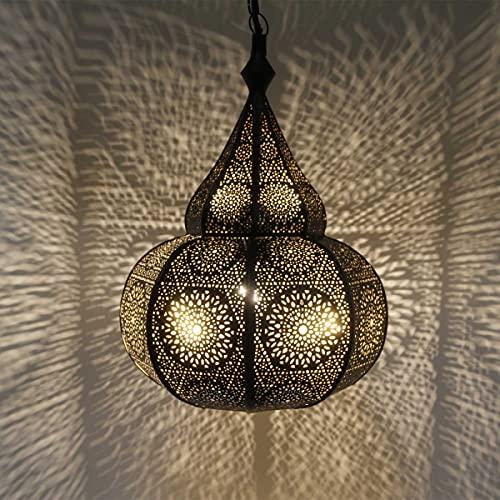 Casa Moro Orientalische Lampe Taza Schwarz mit E27 Fassung & Baldachin & Hängekette   Prachtvolle Pendelleuchte wie aus 1001 Nacht   marokkanischer Stil Boho Leuchte   LN3010