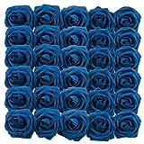 Homcomodar Fleurs Artificielles Rouge Foncé Rose 30pcs Vrai Recherche Faux Roses avec Tige de Mariage DIY Bouquets Centres de Table Arrangement Parti Home Décor (30pc, Bleu Marin)