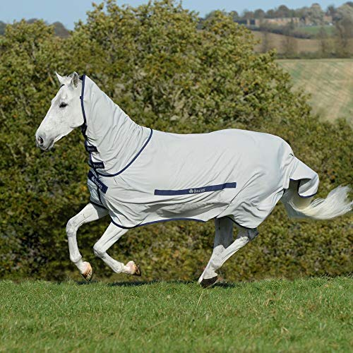 Bucas Sweet Itch Full Neck Fly Rug 6ft6 Silver Blue
