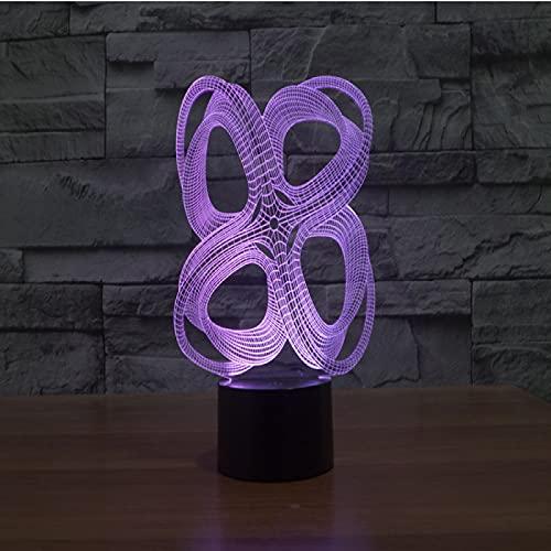Yyhmkb Coche Poca La Estrella 60 Lampara Infantil Rosa Frio Lampara Infantil Lámpara 3D Colorida Abstracta De 4 Círculos Lámpara De Mesa Táctil Creativa Lámpara Led De Ahorro De Energía