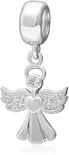 Hanger voor Pandora-bedelarmbanden, design: engel met hart, van 925 sterling zilver, ideaal voor Valentijnsdag