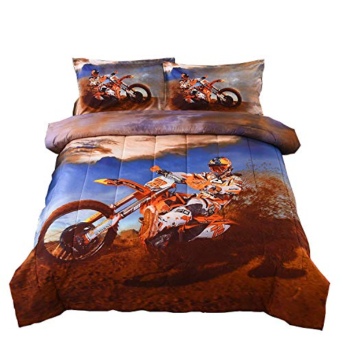 A Nice Night Modern Muscle Racing Driver,Hobby Activity Leisure Concept Design, Exotic Sports Printed Comforter Quilt Set Bedding Sets (X-Motorcyle2)