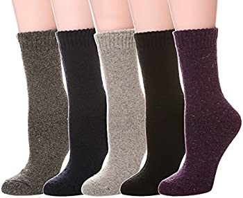 5 Pack Color City Women's Super Thick Soft Knit Crew Socks