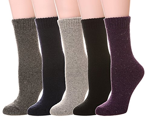 Color City Women's Super Thick Soft Knit Wool Warm Winter Crew Socks - 5 Pack Solid Color 05