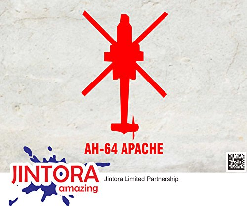 JINTORA Sticker/Car decal - AH-64 Apache Helikopter - 88x144mm - JDM/Die cut - Bus/window/laptop/coach/Truck Rood