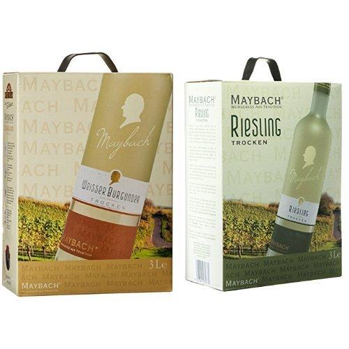 Maybach Bag-In-Box Weinpaket: Weißer Burgunder Trocken + Riesling Trocken (2 x 3 l)