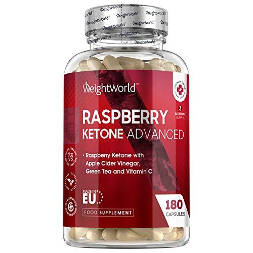 Cétone de Framboise Avancée – 180 Gélules Vegan 100% Naturelles WeightWorld | Raspberry Ketone Advanced avec du Vinaigre de Cidre de Pomme, Thé Vert et Vitamine C – Keto/Cétogène Friendly