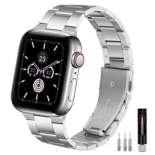 LovRug Metal Straps Compatible with Apple Watch Strap 44mm 42mm 40mm 38mm, Premium Stainless Steel Metal Replacement Band Compatible for iWatch Series 6/5/4/3/2/1, SE (42mm 44mm Silver)