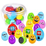 BEESTECH Easter Egg Toys, Colorful Stamp Egg Toys, Finger-Guessing Play Eggs (15 Pack) with Gift Plastic Bucket