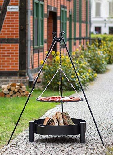 BlackOrange Barbecue suspendu avec brasero Ø 70 cm, barbecue oscillant Ø 60 cm, trépied Hauteur 180 cm