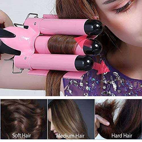 Hair Waver,3 Barrel Curling Iron 25mm(1 inch)Hair Curling Iron with Two Temperature Control ,Heat Up Quickly Beach Waves Curling Iron,Pink