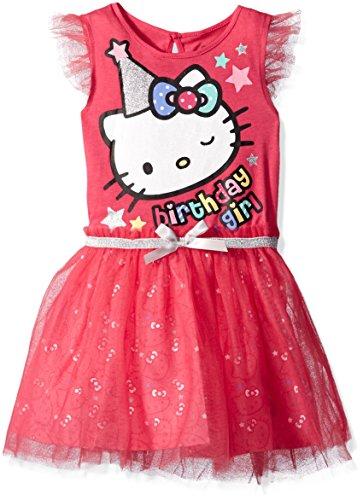 Hello Kitty Girls' Little Happy Birthday Tutu Dress, Fuchsia Purple, 5