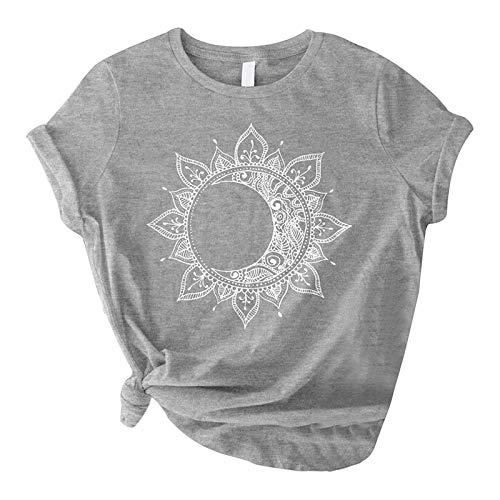 Camiseta de manga corta para mujer, diseño de estrella y luna, estilo vintage con estampado de sol y luna gris L