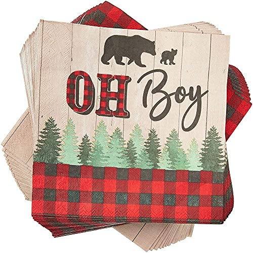 100 Pack OH Boy Lumberjack Buffalo Plaid Napkins for Baby Shower, 2-Ply Folded 6.5 x 6.5 Inches