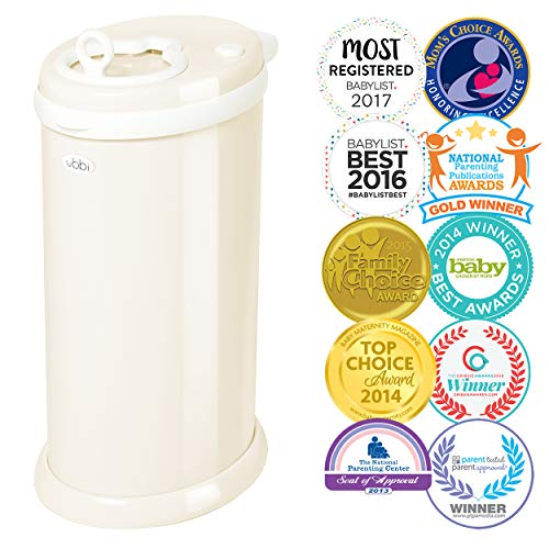 Ubbi Steel Odor Locking, No Special Bag Required Money Saving, Awards-Winning, Modern Design Registry Must-Have Diaper Pail, Ivory