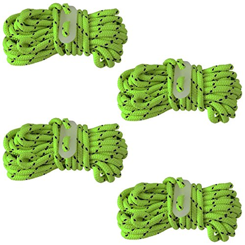 4pc Neon Guy Line Rope Set with Glow-in-The-Dark Slides for Tenting & Camping