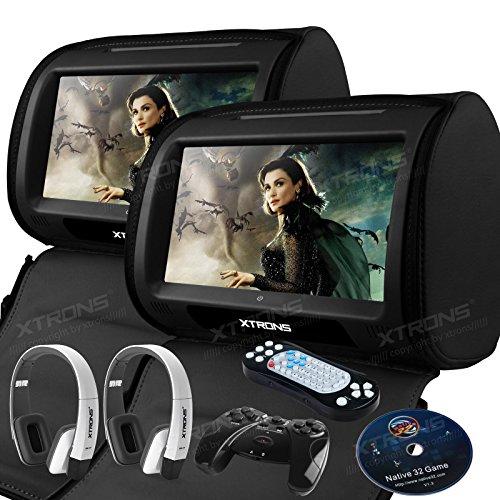 """XTRONS 2 Stück 9"""" DVD Player für Auto Bildschirm für Autositz Kopfstütze mit Leder Adeckung Wince System Headrest HDMI Anschluss IR FM Transmitter unterstützt 1080p Video (HD908TTBlack+DWH006X2)"""