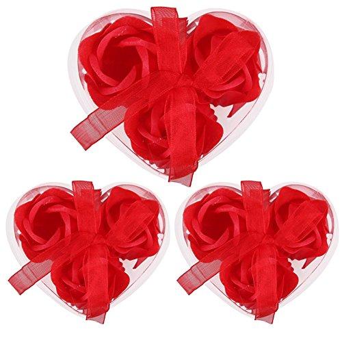 Bluelans 9 pcs Rouge parfumé Savon de Bain Pétale de Rose en boîte de cœur Décoration de Mariage fête Cadeau, Red