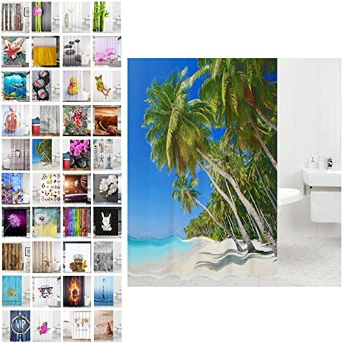 Duschvorhang, viele schöne Duschvorhänge zur Auswahl, hochwertige Qualität, inkl. 12 Ringe, wasserdicht, Anti-Schimmel-Effekt (Karibik, 180 x 180 cm)