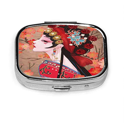 Model-2 Daily Pill Organizer Painting Pipe Cat Square Box Case Compact 2 Compartment Vitamins Tablet Holder Container Metal Portable for Daily Needs Travel Purse Pocket