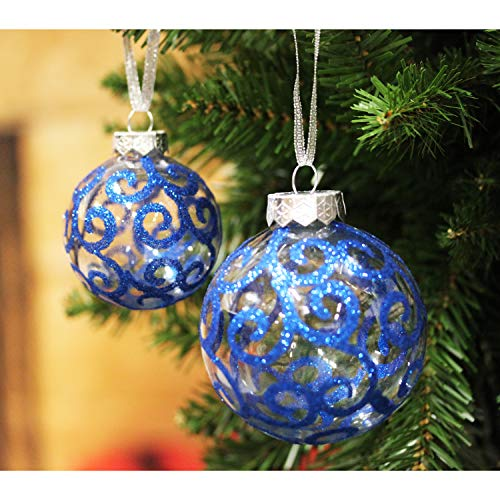 Sleetly Luxury Christmas Tree Ball Ornaments, Blue Swirl, Set of 32