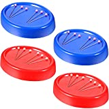 4 Pieces Magnetic Sewing Pin Cushion Oval Red/Blue Magnetic Pin Holder Sewing Needle Storage Box for Hand...