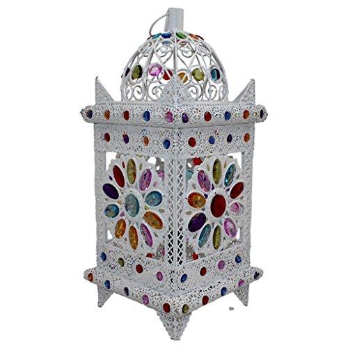 Schreibtischlampen Guo Europäische Stil Lichter Einfache Pavillon Schlafzimmer Bedside Lamp Eisen Plexiglas Hand-Perlen E14 Lampe Port