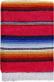 El Paso Designs Serape falsa Blanket- 57'x74' Classic Mexican Serape Pattern in Vivid Color- Hand Woven Acrylic Falsa Blanket. (Pink)