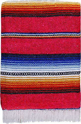 El Paso Designs Serape Falsa Decke, 144,8 x 188 cm, klassisches mexikanisches Serape-Muster in lebendigen Farben, handgewebte Acryl-Decke (Pink)