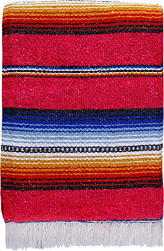 """El Paso Designs Made in Mexico Classic Mexican Hand Woven Serape Yoga Blanket - 78"""" x 51"""" (Red)"""