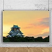 Qinunipoto ビニール 1.5x1m 大阪城 カラフルなパステル調 夏の夕日 黄色い空 背景布 背景幕 ポートレート 写真の背景 写真布 和風 商品撮影 人物撮影 自宅 写真館 撮影布 子供やペットの写真撮影用