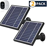 iTODOS 2 Pack Solar Panel Compatible with Arlo Pro 2, 11.8Ft Outdoor Power Charging Cable and Adjustable Mount ,Not for Arlo and Arlo Pro(Black)