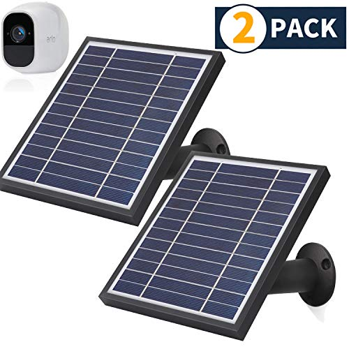 iTODOS 2 Pack Solar Panel Compatible with Arlo Pro 2, 11.8Ft Outdoor Power Charging Cable and Adjustable Mount,Not for Arlo Ultra and Arlo Pro3(Black)