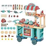 HOMCOM Kinderküche mit Zubehör 50-Teilige Spielküche Spielzeugküche Kunststoff Blau+Rot+Orange 79,5 x 33 x 90,5 cm