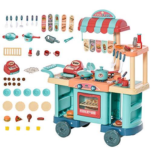HOMCOM Kinderküche mit Zubehör 50-Teilige Spielküche