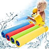 Water Gun 4 Pack, Safe Foam Water Cannons for Kids - 35FT Long Shooting Range - Water Blaster, Squirt Guns Shooter Set for Kids/Boys/Girls/Adults, Beach /Pools Pool