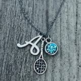 Personalized Tennis Racket Birthstone and...