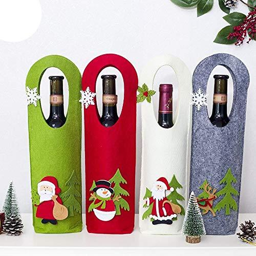 MAXJCN Feiertags-Dekorationen, (Family of Four) - Hot Weihnachten Champagne Rotweinflasche Sets Cartoon-Stick Filz Weihnachten Wein-Geschenk Wein-Tasche aus Filz