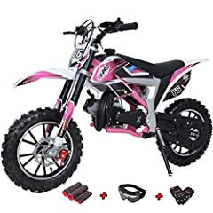 【Powerful 2 Stroke Air-cooled Engine】This Dirt bike comes with powerful high torque 2-stroke 50cc air-cooled engine designed to prevent overheating. There will be no worries about overheating or extra engine maintenance, powerful than regular 50cc en...