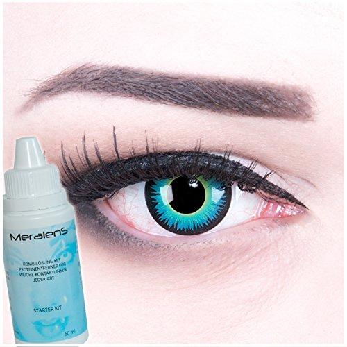 Meralens blaue blau Seraphin Kontaktlinsen mit 60ml Pflegemittel ohne Stärke, 1er Pack (1 x 2 Stück)