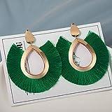 TZZD La Nueva joyería de Moda Borla Pendientes for Las Mujeres de algodón Tela de Seda Largo de la Franja Gota cuelga los Pendientes (Metal Color : Platinum Plated)