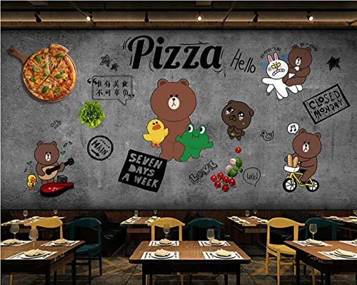 Wanddecoratie in westerse stijl, pizza, restaurant behang, pastel behang, café, vrije tijd, bar, wanddecoratie groot 350 x 245 cm