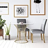 COSMOLiving by COSMOPOLITAN CosmoLiving Westwood Top, Tempered Glass with Soft Brass Dining Table