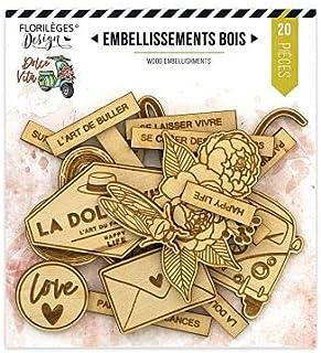 Florilèges Design Embellissements, Couleur Bois, 110x105mm