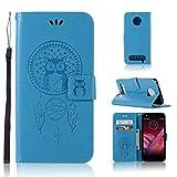 LMAZWUFULM Hülle für Motorola Moto Z2 Play (5,5 Zoll) PU Leder Magnetverschluss Brieftasche Lederhülle Eule & Traumfänger Muster Standfunktion Ledertasche Flip Cover für Motorola Z2 Play Blau