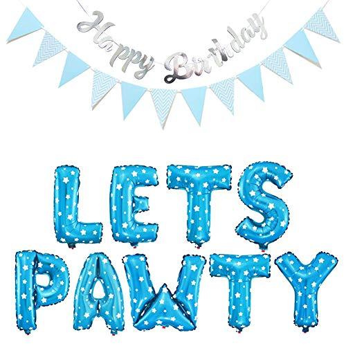 WENTS Decorazione di Compleanno Cane Pennant One e Happy Birthday Banner e 6pcs Dog Ankle Balloon, 6pcs Confetti Balloon, Set di Palloncini Pawty, Riutilizzabili, Ottimo Rapporto qualità Prezzo