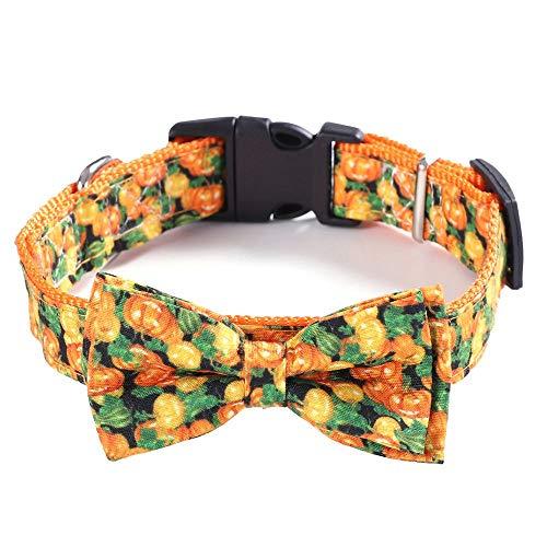 N\C Collares de pajarita de Halloween con patrón de calavera de calabaza ajustable collares de perro fantasma de calabaza con pajarita collar de gato