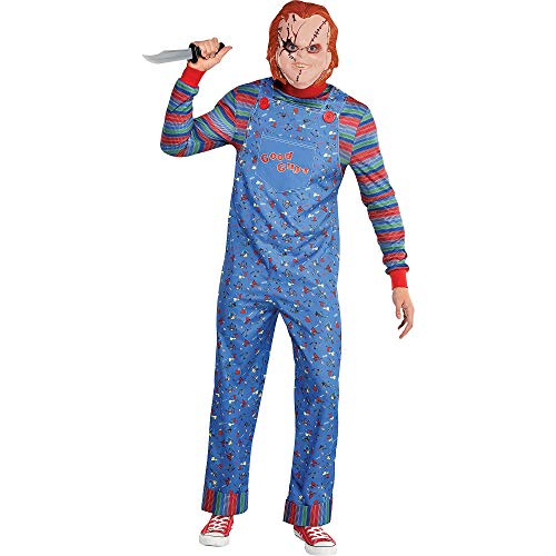 Party City Chucky Halloween Costume for Men, Child's Play, Standard, Includes Jumpsuit and Mask