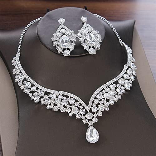 DALIANMAO Conjunto de Collar para Novia de Mujer Joyería de Tocado Collar de Boda Pendientes Set Crystal Crown Tiara (Metal Color : 2Pcs Jewelry Set)